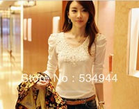 2013 autumn lace decoration t-shirt plus size clothing slim cotton t-shirt women's long-sleeve basic shirt  5096