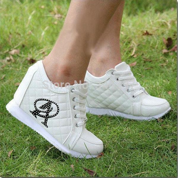 Hot Sales New 2015 Autumn Black White Hidden Wedge Heels Casual Shoes Women's Elevator High-heels Sneakers For Women Rhinestone(China (Mainland))