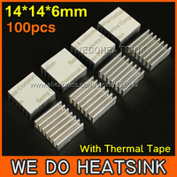Free Shipping 100Pcs/Lot 14*14*6 mm Aluminum Radiator Extrusion Heatsink Cooler With Thermal Tape For LM2596 LM2577 LM2576