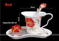 Novelty porcelain enamel flower coffee cup,special paint color milk mug set,fashion tea cups,1mug+ 1saucer+ 1spoon
