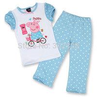 Retail New Pepa pig Next Baby Girls Autumn Clothing Sets short Sleeves shirt Long pants Suit Kids Peppa Pig Clothes Set