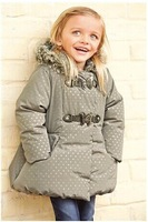 UK brand Child size winter outwear girl child baby winter princess hooded dot down coat liner children's clothing warm outerwear