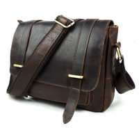Brand High Quality Vintage Casual 100% Top Crazy Horse Genuine Leather Cowhide Men Messenger Bag Shoulder Bag Bags For Men B350