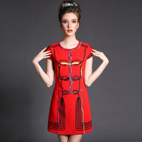 Free shipping summer 2014 new women high-end Beaded lace stitching girl heads printing Chiffon dress Plus Size S-XXXXXL