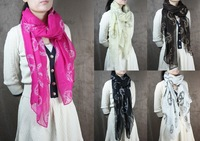 2013 New Autumn and Winter Biggest 180*60 cm Scarf & Shawl Warp Pashmina Peace Skull Design Scarves, Free Shipping  S00014