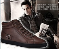 2013 New Winter Cowhide Genuine Leather Lacing Casual Shoe US Size 5.5-11 EUR Sizes 37-48 Men's Shoes Plush Flats Free Shipping