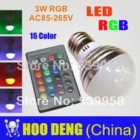 Sale led rgb bulbs lamps 3w E14/B22/E27 rgb led Light with Remote Control 2 pieces/lot free shipping