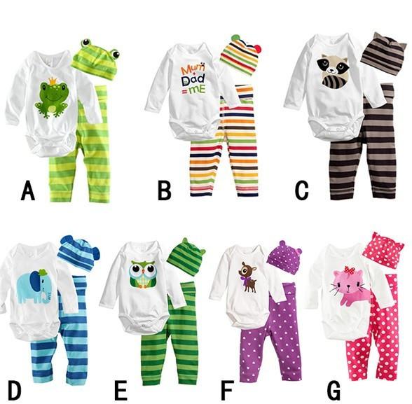 Nuovo 2014 bambine pigiama bambino body di cotone pigiama arrampicata vestiti set pagliaccetto manica lunga + cappello + pantaloni tre- pezzo