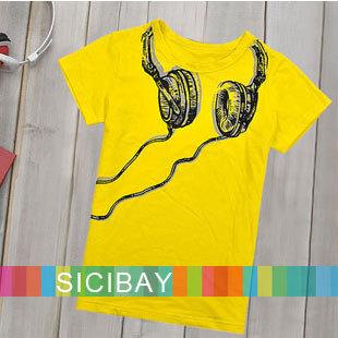 2014 New Children T shirts Boys Short Sleeve Tops Kids Summer fashion tees Baby Fake Headphone Design Tshirt,Free Shipping K0122(China (Mainland))