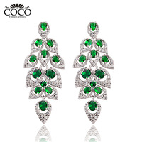 2014 New Luxury Emerald Austrian Crystal Chandelier Big Earrings Fashion Girs Jewelry CE209 Wholesale