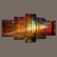 5 Panel Canvas Art Forest Painting Modern Canvas Wall Art Painting Picture Home Decoration Canvas Prints Landscape Painting