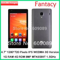 Original  Xiaomi Hongmi 1S 4.7'' Redmi WCDMA Quad Core Qualcomm MSM8228 Mobile Phone Xiaomi Red Rice 8mp Dual SIM Android 4.2