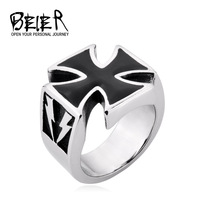 Vintage steel/plated Lightning Iron Cross Rings For Men 2014 Fashion Jewellery Free Shipping TG000 FS US size