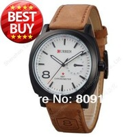 CURREN 8139 Unisex Stylish Quartz Analog Watch with Leather Strap Men and Women Wristwatches (White)
