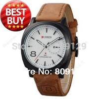 CURREN 8139 Unisex Stylish Quartz Analog Watch with Leather Strap Men and Women Wristwatches (White)