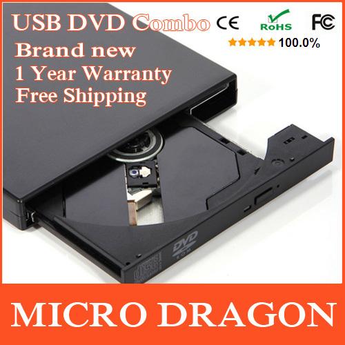 HOT! USB 2.0 External DVD ROM Drive USB DVD-R CD-RW CD Burner External Combo DVD Player [ Real DVD-ROM Not Case ](China (Mainland))