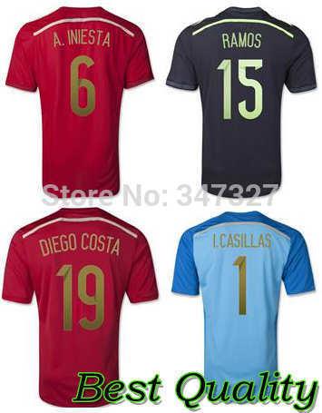 2014 Spain Soccer Jersey football shirt, Mens Spain INIESTA RAMOS soccer red jersey, Espana Hombre negra camisetas(China (Mainland))