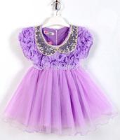 new designer 2015 flower girl dresses fashion sequins Collar children dresses girls princess tutu dress ropa de ninas infantil