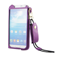 Retail  Shipping 2pcs 2014 new supper Thin Leather Case With Neck Strap+card holder for samsung galaxy S4/ i9500.