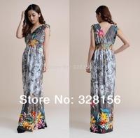 2014 Women Printed Long/ Maxi Casual Dress Women Dress Plus Size col. grey, khaki XL-5XL Freeshipping