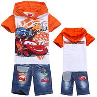 Kids Clothes Sets New 2014 Summer Baby Boy Sport Suit Children t shirts + Denim Shorts Cotton Tracksuit Boys Clothing Set