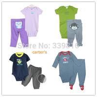 Retail 2013 Summer Original Carters Infantil Boy/Girl's Short-sleeve 2-piece Bebe Bodysuit Sets Clothing (Bodysuit + Pants)