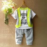 New 2014 Spring Children Clothes Sets Children t shirts + Pants 2pcs Vest School Suit Outfits Sports Suit Boys Clothing Sets