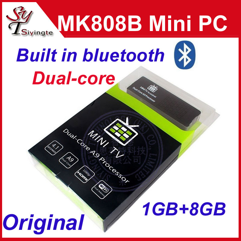 MK808 MK808B Dual Core RK3066 1.6GHz 1GB 8GB Google Android 4.2 Mini PC WiFi Bluetooth HDMI Smart TV Stick Box Dongle(China (Mainland))