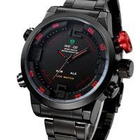 30M Waterproof Analog & Digital Display Full Stainless Steel WEIDE Brand Military Watch Men Sports Watches
