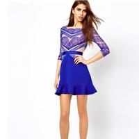 2014 women summer dress gauze Lace patchwork casual party evening dresses femininos vestidos de festa