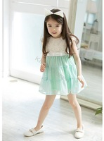 2014 New Cute Fashion Baby Girls Kids Princess Tutu Flowers Cotton Lace Mini Party Dress Roses Tops Pink/Blue 2-9 years 20093