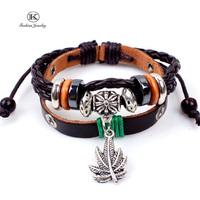 2014 New Fashion Jewelry Manual Charm Genuine Leather Bracelet with Braided rope Unisex for Punk Vintage Style Bracelets