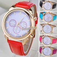 Promotion !!! 5PCS/LOT Women Dress Watches Synthetic Leather Quartz Watch Wrist Watch 2014 New Fashion 6 Colors Available 19743