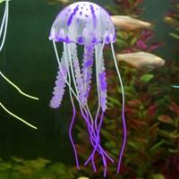 Cheap 4Pcs/Lot Cute Fluorescent Glowing Effect Jellyfish Aquarium Fish Tank Ornament Swim Pool Bath Decor B19