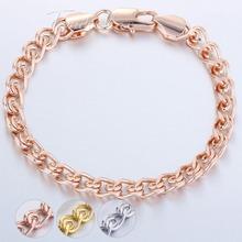 6MM Snail Bracelet  Boys MENS Bangle 18K Rose Gold Filled Bracelet 18KGF Personalize Wholesale Bulk Jewelry Gift GB210