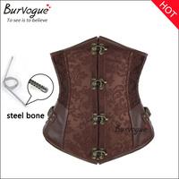 2014 New brown black corset steel boned gothic string sexy corset&bustiers underbust women waist training corselet cincher top