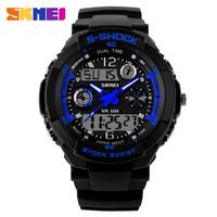 2014 New Men Sports Watches Dress Watch 2 Time Zone Digital Quartz Electronic LED Chronograph Dive Swim Military Wristwatches