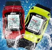Children Wristwatches Car Style LED Cartoon Sports Watch Jelly Silicone 50m Waterproof Swim Digital Watch Kids Watches(China (Mainland))