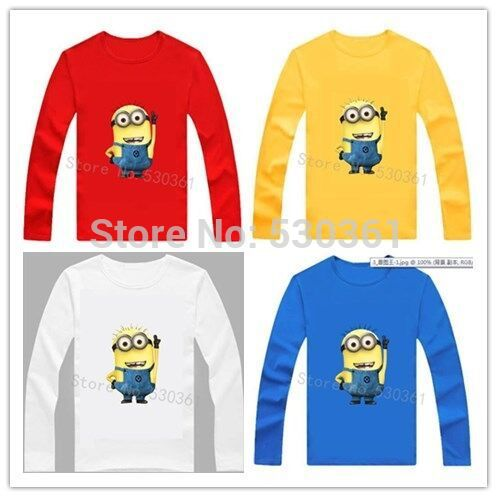 New 2014 cartoon anime figure despicable me minion clothes minion costume kid clothes, long sleeve t shirts,girls boys' t-shirts(China (Mainland))