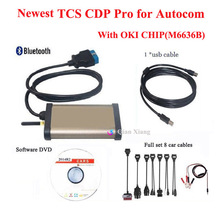 2014R2 TCS CDP Pro OKI Chip with keygen for Autocom Bluetooth OBD2 Diagnostic tool For Cars / Trucks + Full set 8 Car cables(China (Mainland))
