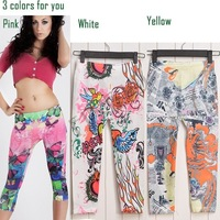 European Style Fashion Floral Printed Leggings For Women Painted Tattoo Leggings Patterned Sexy Leggings Pants 2014 SV000672A6