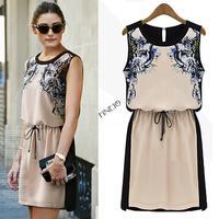Hot 2014 Summer Women's High quality Fashion dress Woman Chiffon Pinched Waist Women dress Printed vintage SV000618 b014