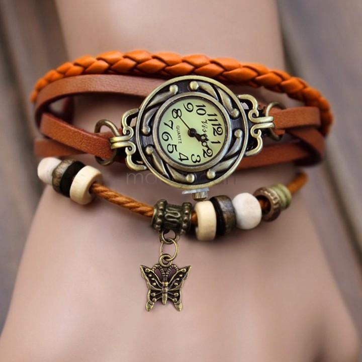 2014 New Quartz Women Dress Watchs Small Butterfly Weave Wrap Synthetic Leather Bracelet Wrist Watch 19256#008(China (Mainland))