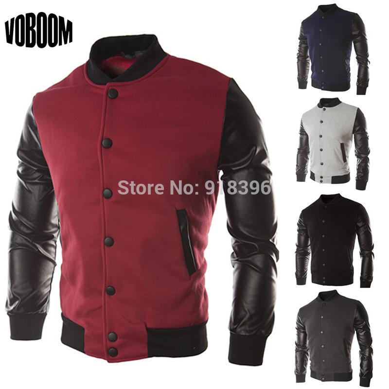 New Men 2014 Sweater PU Leather Collar Sweater Personalized Baseball Stitching Clothes Man Jacket Plus Size M-4XL Wine Red Navy(China (Mainland))