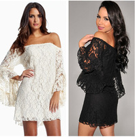 New Spring 2014 Fashion New arrival Sexy Club Party girl White Lace Mini Dress Summer Casual Crochet Dress for Women clothing