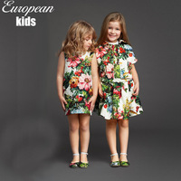 Super Deal new 214 italy designer children dress,high quality summer baby girls dress,cotton print flower kids girl's dresses