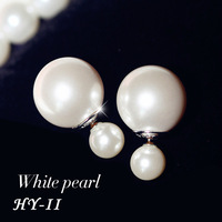 New 2014 Fashion Women's Double Pearl Earrings Candy Piercing Statement Wedding Stud earrings brincos perle pendientes boucles