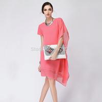 women novelty chiffon dresses asymmetrical knee-length o-neck summer dress 2014 short sleeve irregular oblique hem dress 5XL 4XL