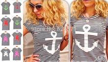 6 cores das mulheres T Shirt da marinha listrada urso Anchor impresso urso Anchor T-shirt curto de manga curta estiramento do algodão T-shirt Modal Tops(China (Mainland))