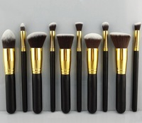 2014 Wholesale High Quality Makeup brushes 10PCS/LOT Cosmetics Foundation Blending Blush Wooden Makeup Brush tool Kit Set Case